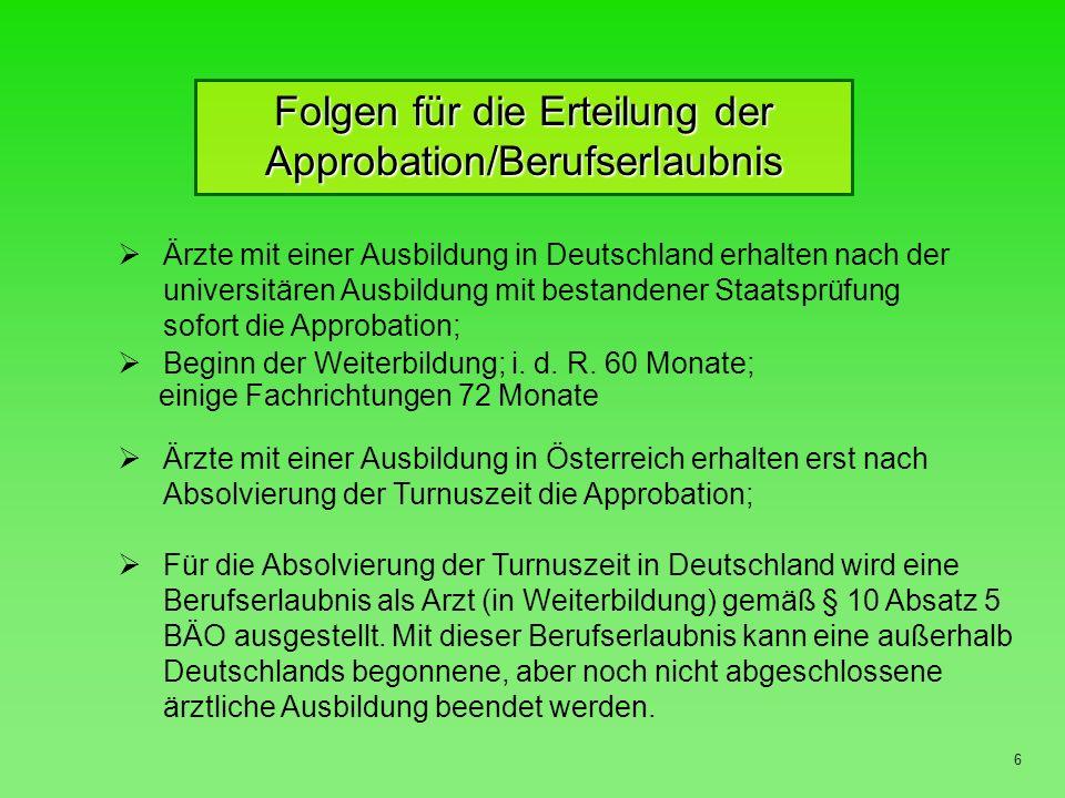 Folgen für die Erteilung der Approbation/Berufserlaubnis
