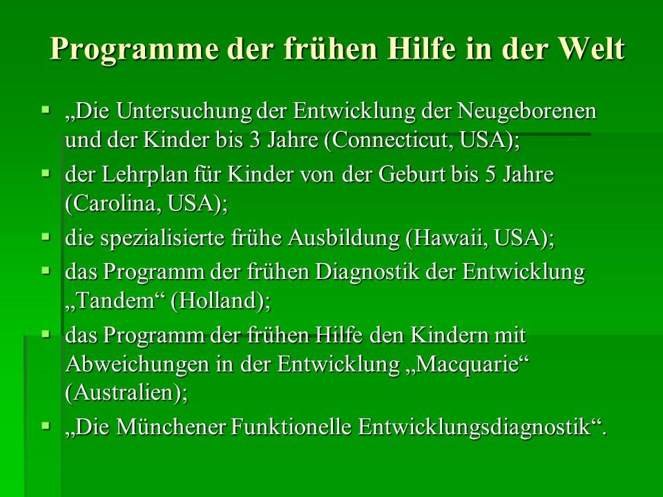 Programme der frühen Hilfe in der Welt