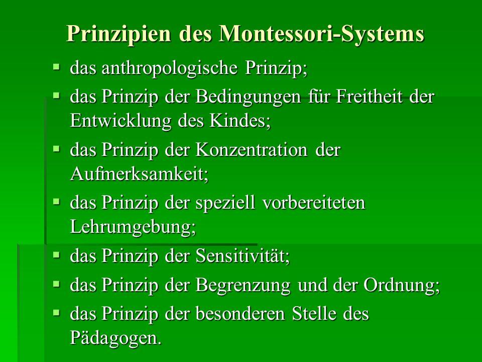 Prinzipien des Montessori-Systems