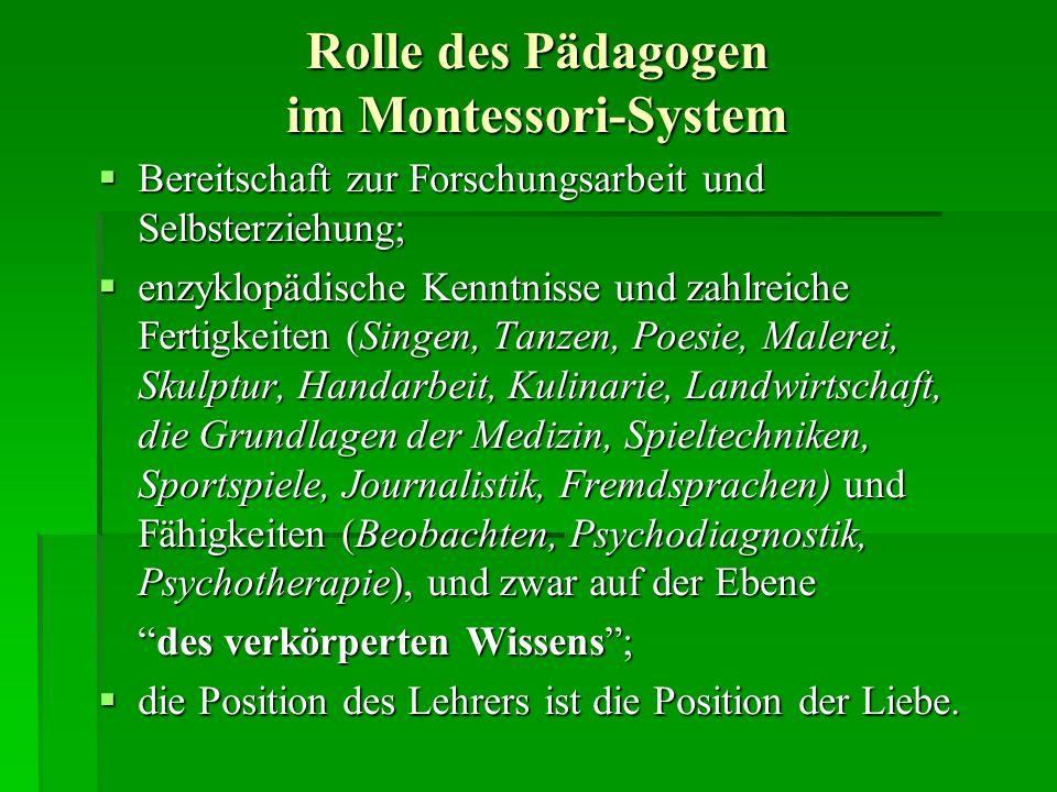 Rolle des Pädagogen im Montessori-System