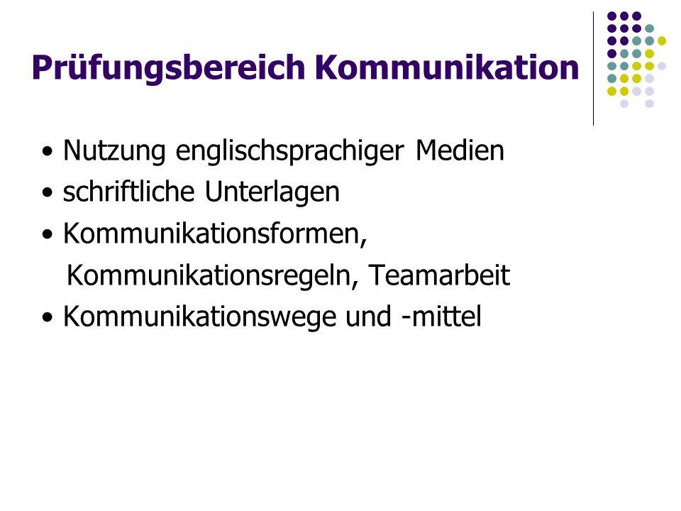 Prüfungsbereich Kommunikation