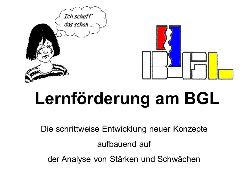 Lernförderung am BGL Die schrittweise Entwicklung neuer Konzepte