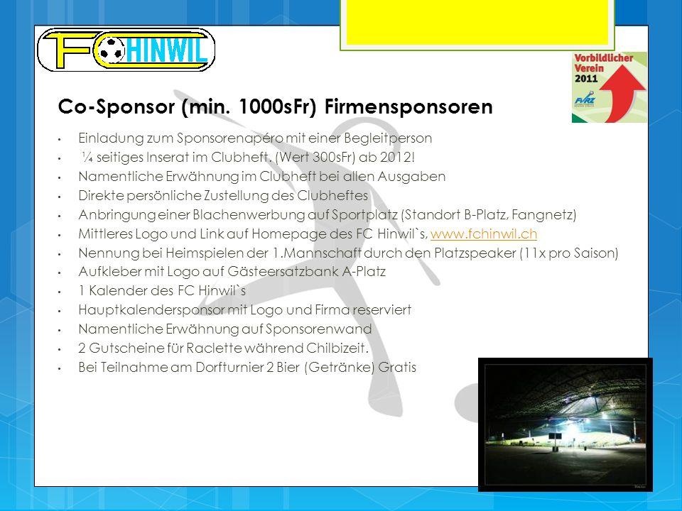 Co-Sponsor (min. 1000sFr) Firmensponsoren