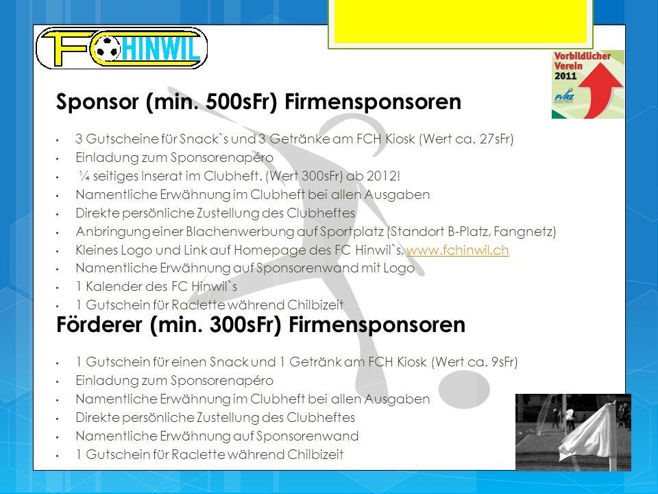 Förderer (min. 300sFr) Firmensponsoren