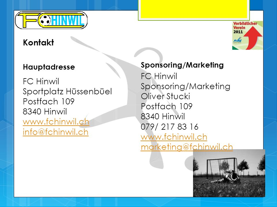 Sponsoring/Marketing Oliver Stucki Postfach 109 8340 Hinwil
