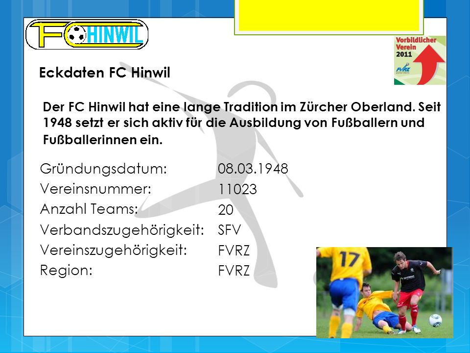 Verbandszugehörigkeit: SFV Vereinszugehörigkeit: FVRZ Region: