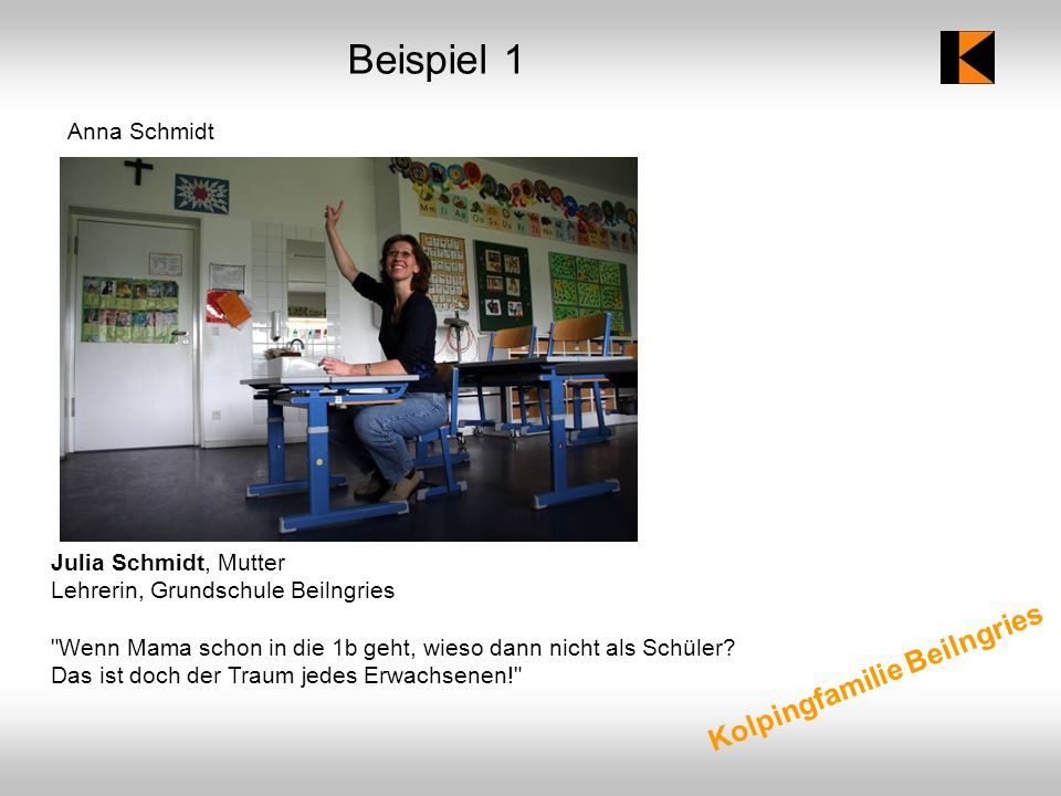 Beispiel 1 Kolpingfamilie Beilngries Anna Schmidt