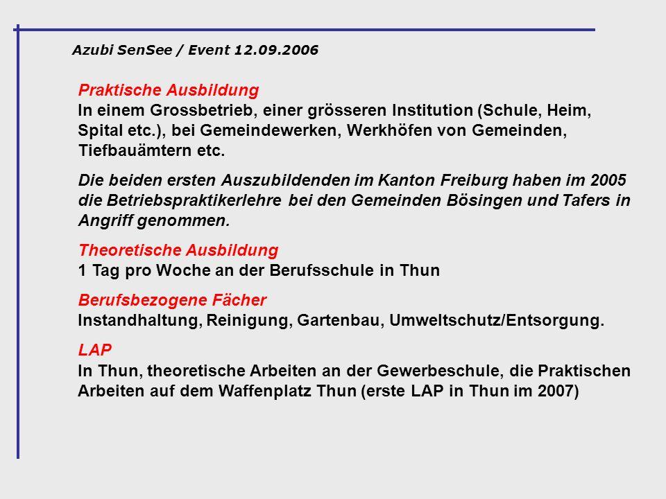 Theoretische Ausbildung 1 Tag pro Woche an der Berufsschule in Thun