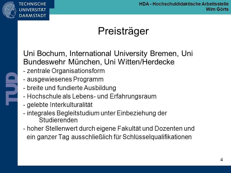 Preisträger Uni Bochum, International University Bremen, Uni Bundeswehr München, Uni Witten/Herdecke.