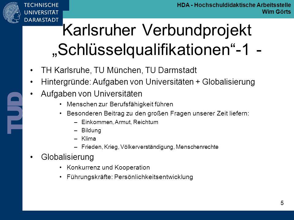 """Karlsruher Verbundprojekt """"Schlüsselqualifikationen -1 -"""