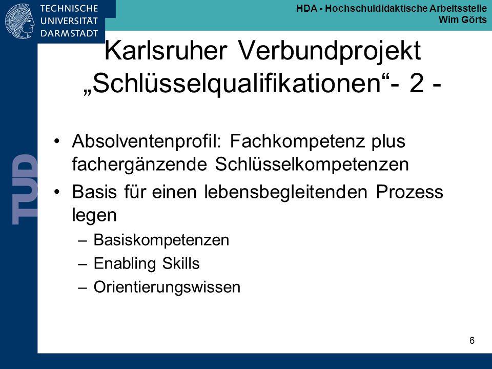 """Karlsruher Verbundprojekt """"Schlüsselqualifikationen - 2 -"""