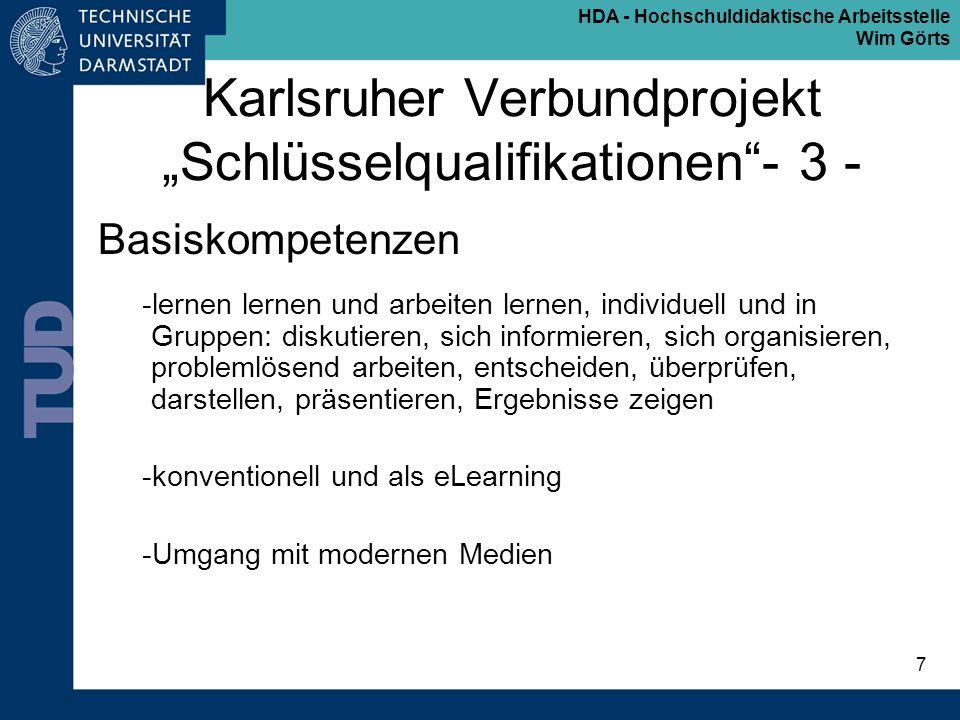 """Karlsruher Verbundprojekt """"Schlüsselqualifikationen - 3 -"""