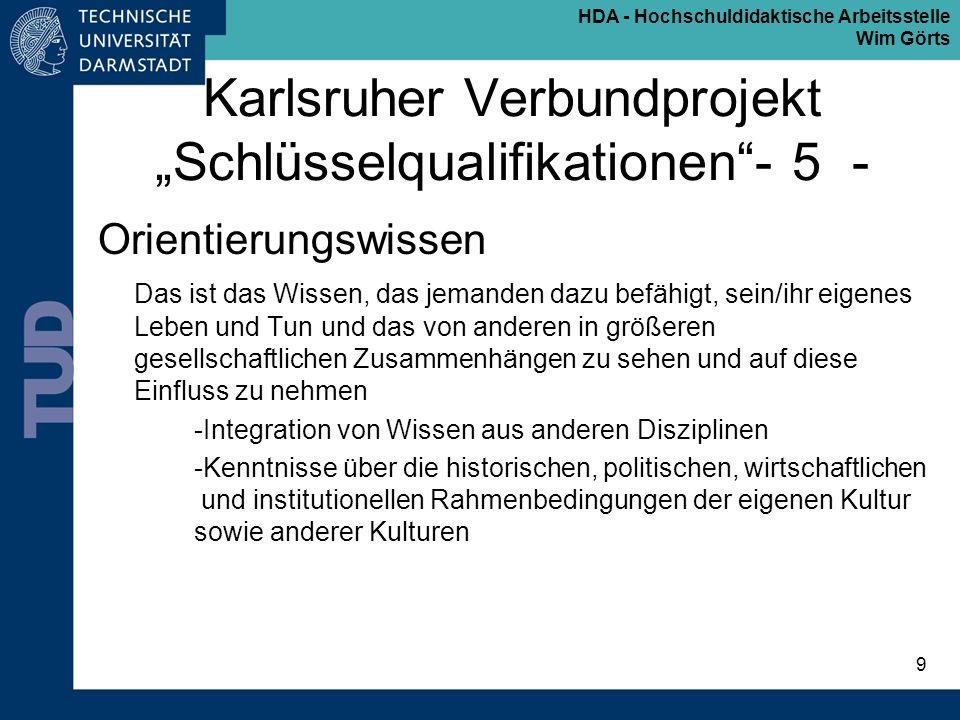 """Karlsruher Verbundprojekt """"Schlüsselqualifikationen - 5 -"""