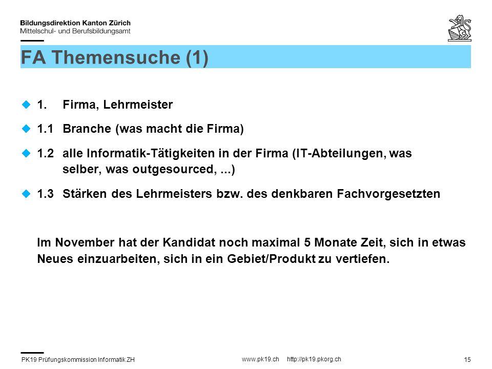 FA Themensuche (1) 1. Firma, Lehrmeister