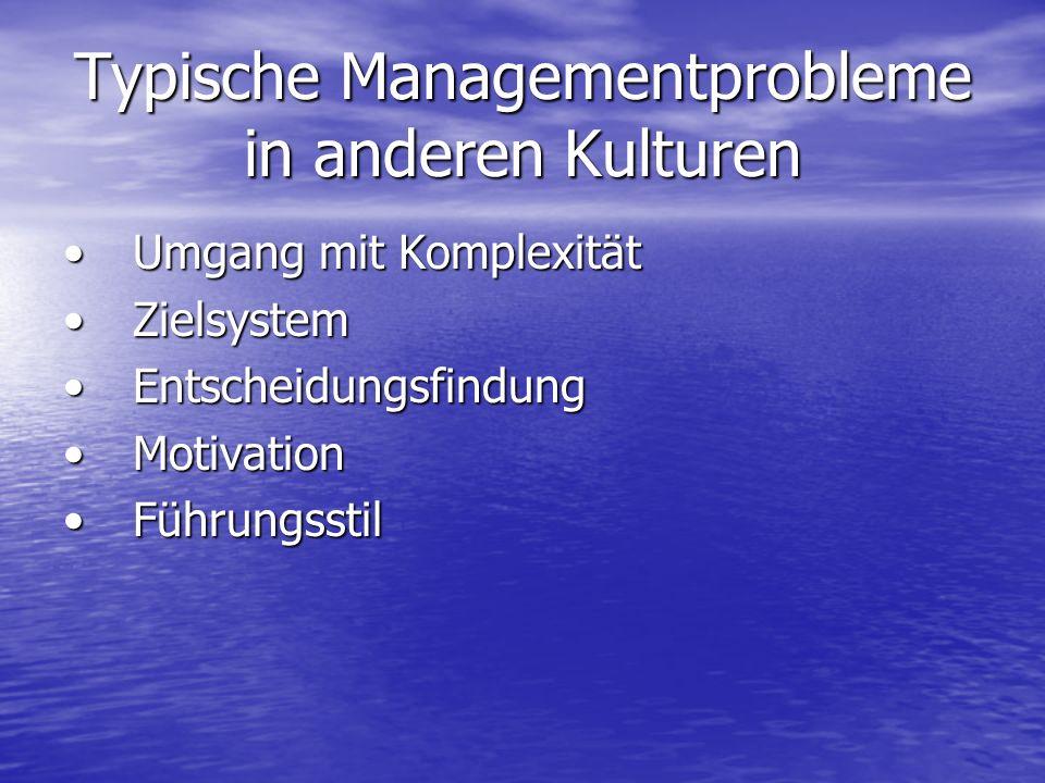 Typische Managementprobleme in anderen Kulturen