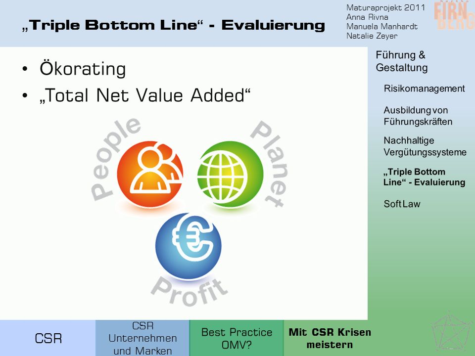 """Triple Bottom Line - Evaluierung"
