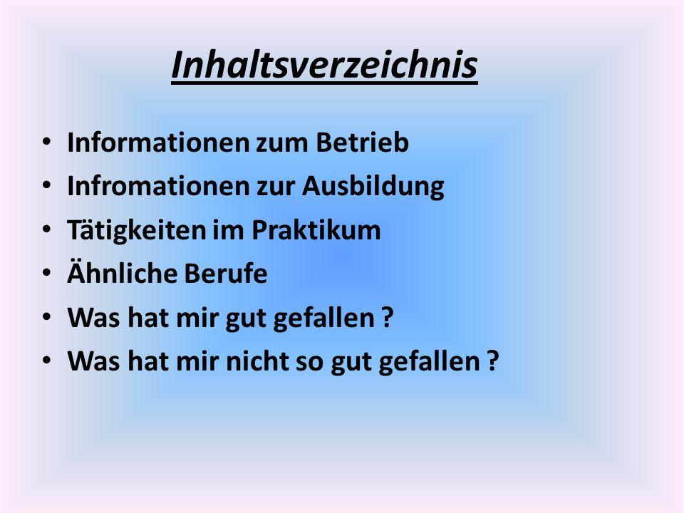 Inhaltsverzeichnis Informationen zum Betrieb
