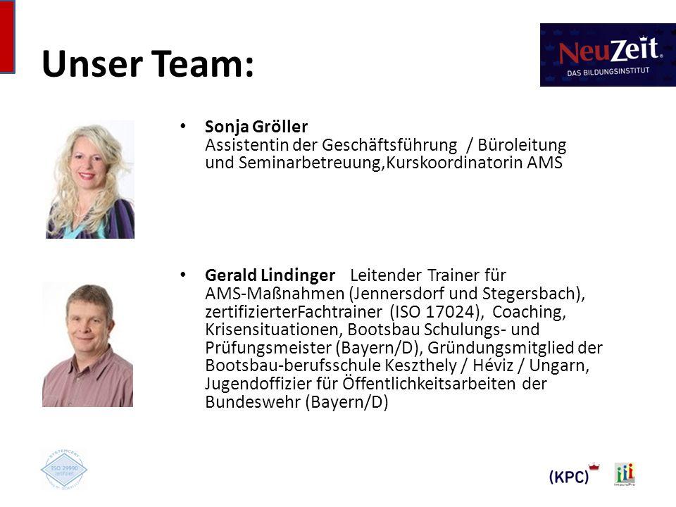 Unser Team: Sonja Gröller Assistentin der Geschäftsführung / Büroleitung und Seminarbetreuung,Kurskoordinatorin AMS.