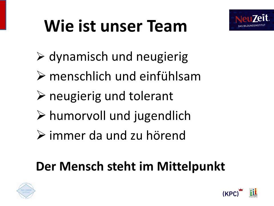 Wie ist unser Team menschlich und einfühlsam neugierig und tolerant