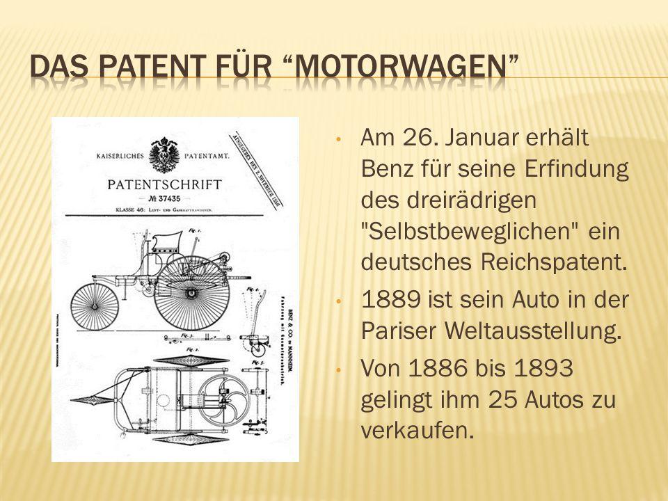 DAS PATENT FÜR MOTORWAGEN