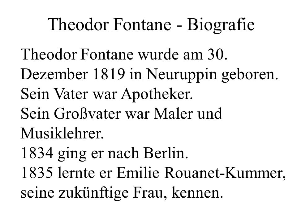 Theodor Fontane - Biografie