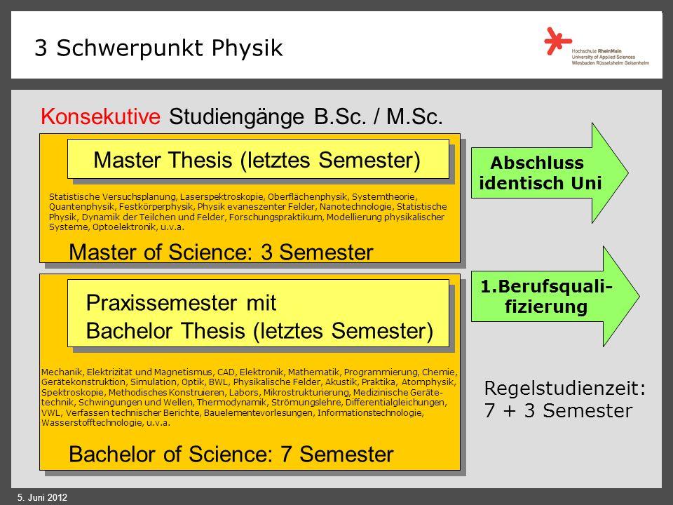 Konsekutive Studiengänge B.Sc. / M.Sc.