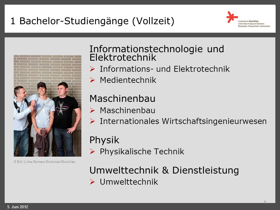 1 Bachelor-Studiengänge (Vollzeit)