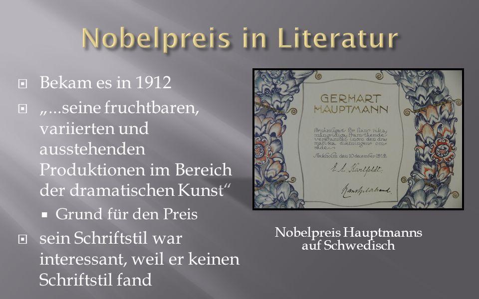 Nobelpreis in Literatur