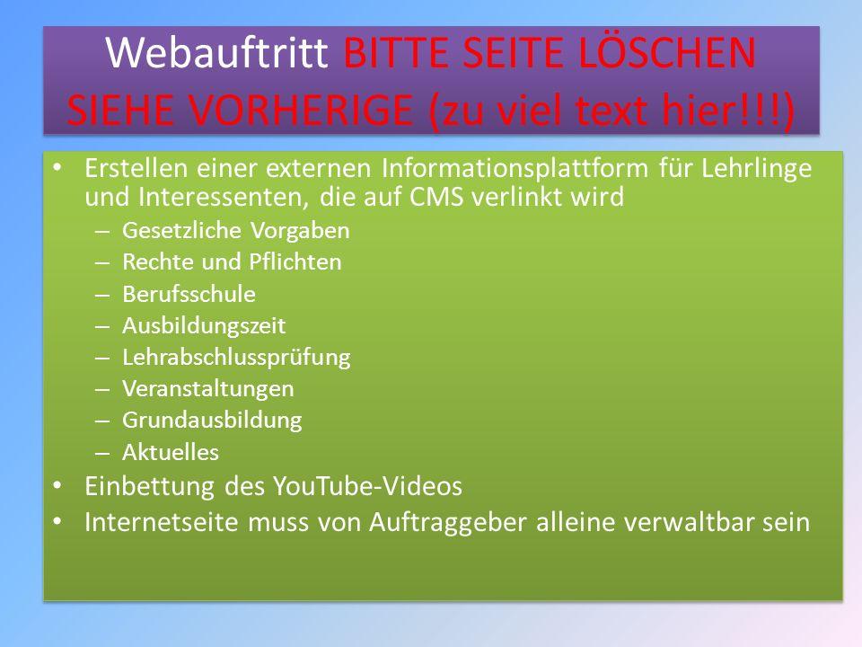 Webauftritt BITTE SEITE LÖSCHEN SIEHE VORHERIGE (zu viel text hier!!!)