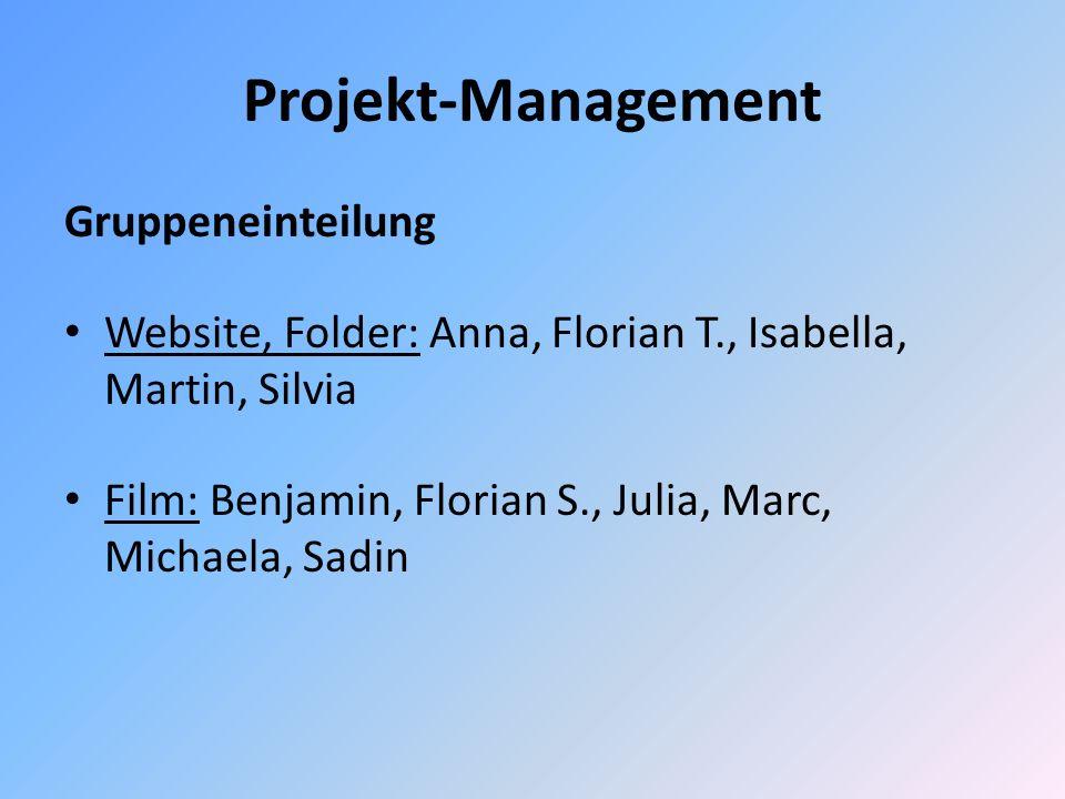 Projekt-Management Gruppeneinteilung