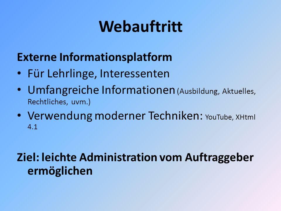 Webauftritt Externe Informationsplatform Für Lehrlinge, Interessenten