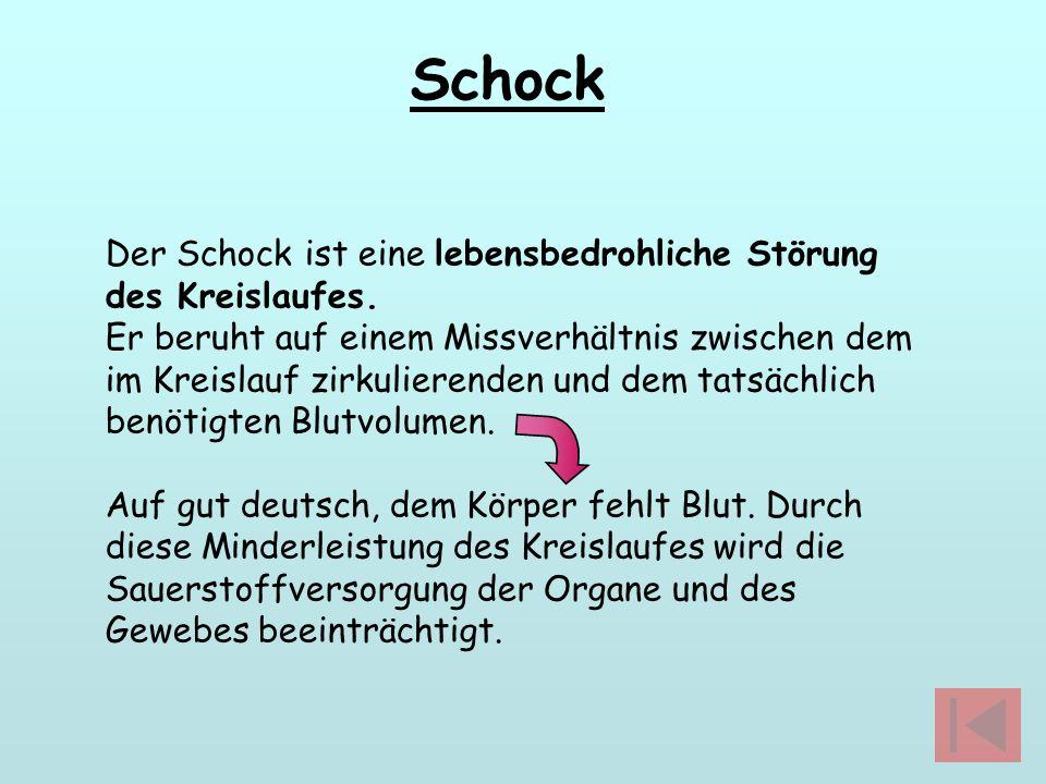 Schock Der Schock ist eine lebensbedrohliche Störung des Kreislaufes.