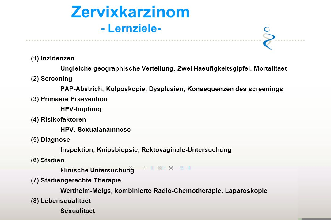 Zervixkarzinom - Lernziele-