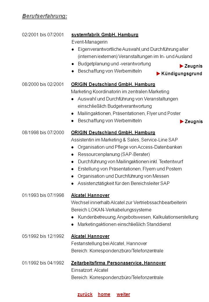 Berufserfahrung: 02/2001 bis 07/2001 systemfabrik GmbH, Hamburg