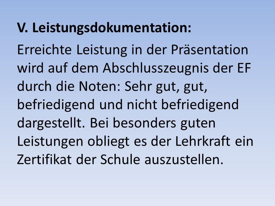 V. Leistungsdokumentation: