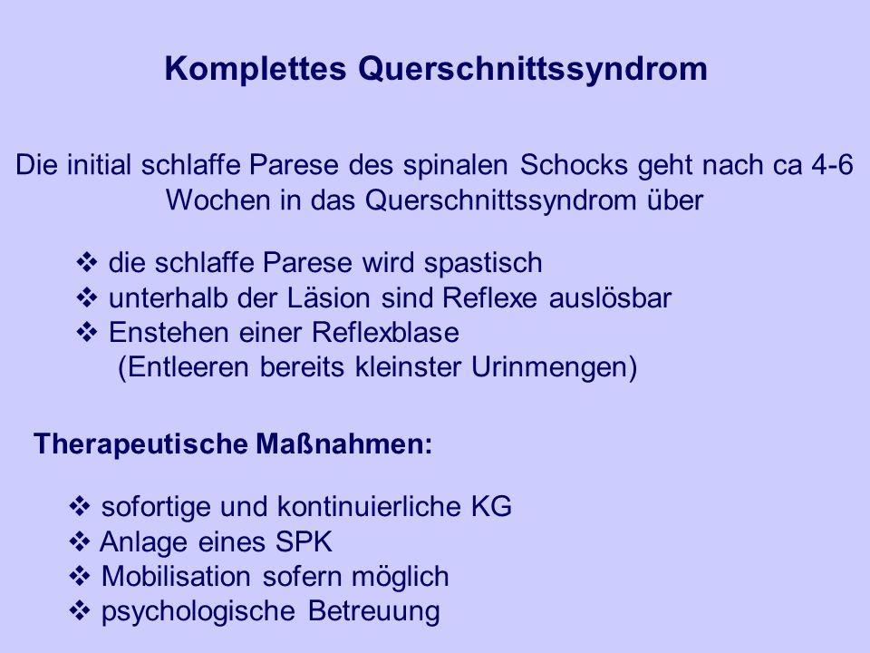 Komplettes Querschnittssyndrom Therapeutische Maßnahmen:
