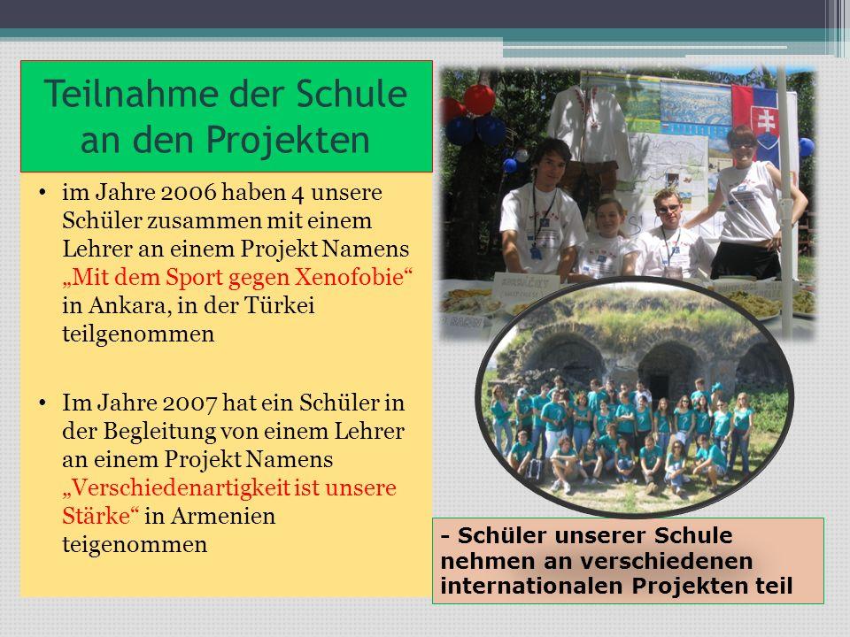 Teilnahme der Schule an den Projekten