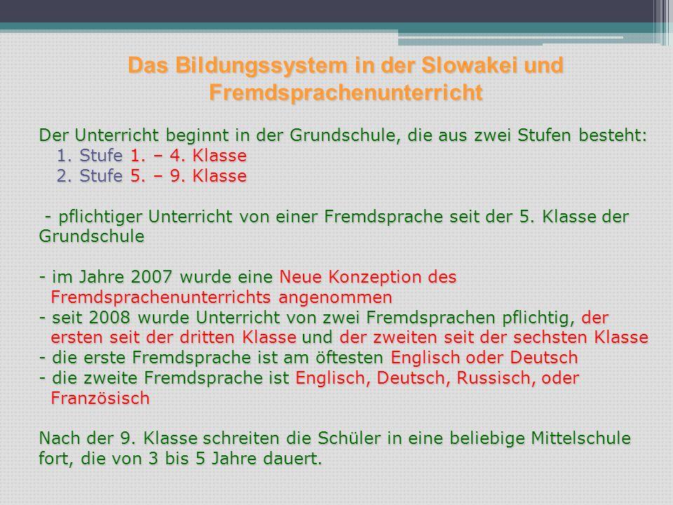 Das Bildungssystem in der Slowakei und Fremdsprachenunterricht