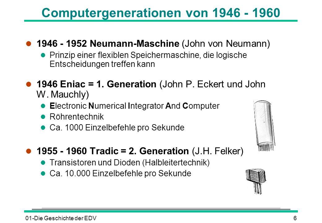 Computergenerationen von 1946 - 1960