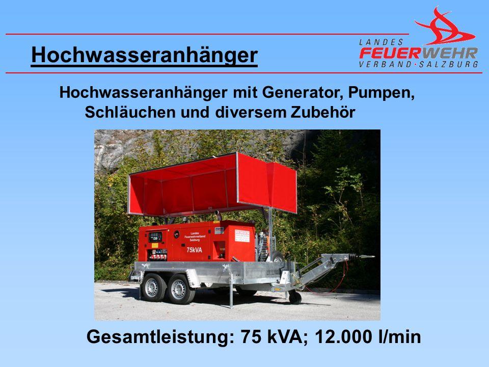 Hochwasseranhänger Gesamtleistung: 75 kVA; 12.000 l/min