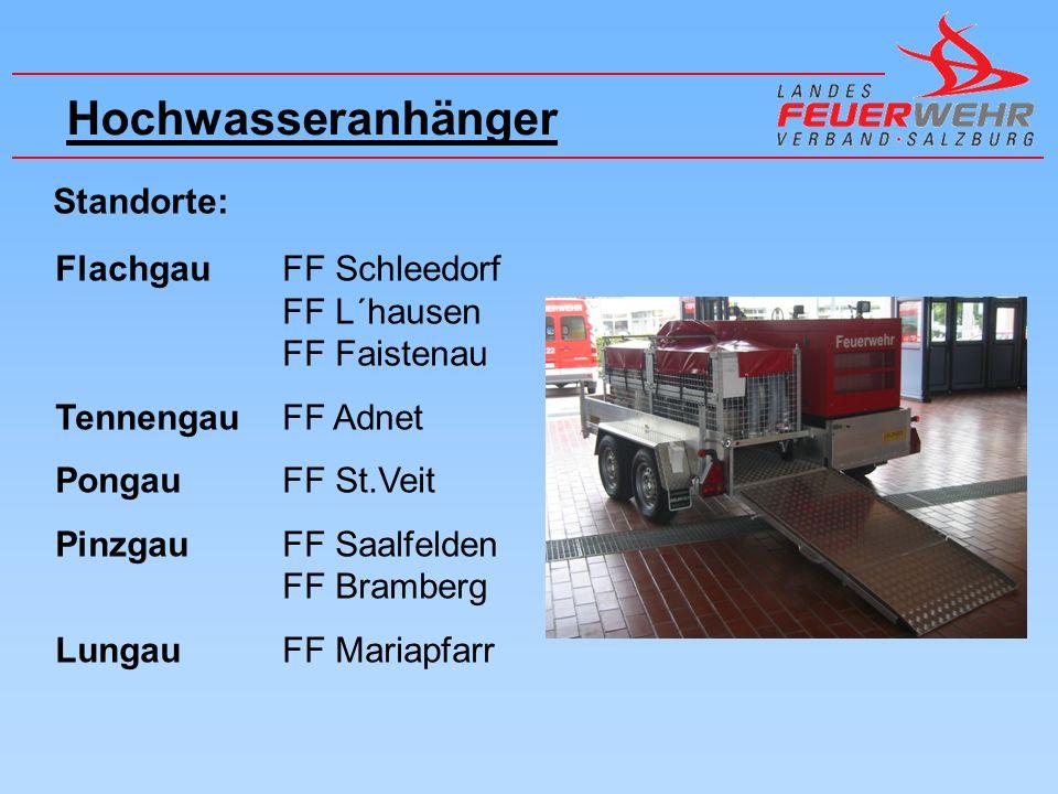 Hochwasseranhänger Standorte: Flachgau FF Schleedorf FF L´hausen