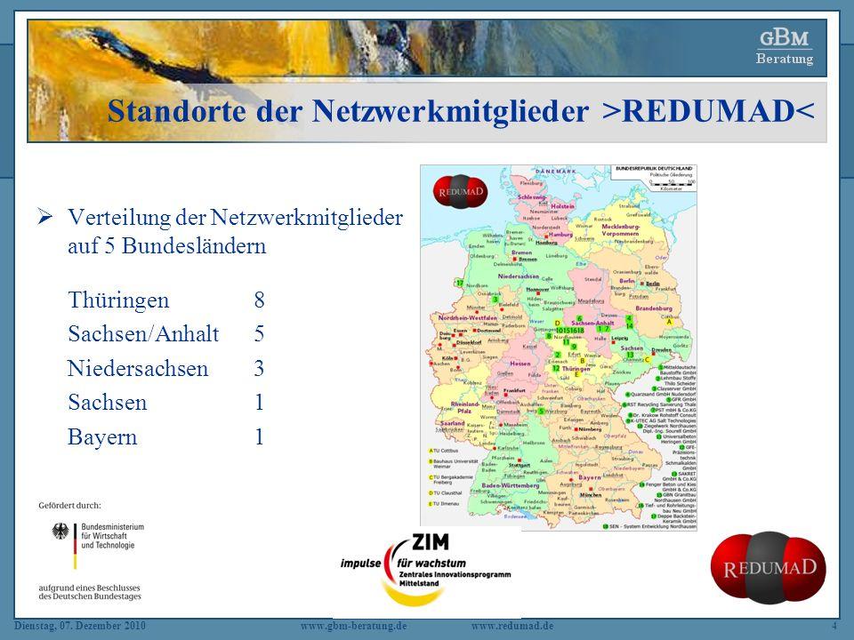 Standorte der Netzwerkmitglieder >REDUMAD<