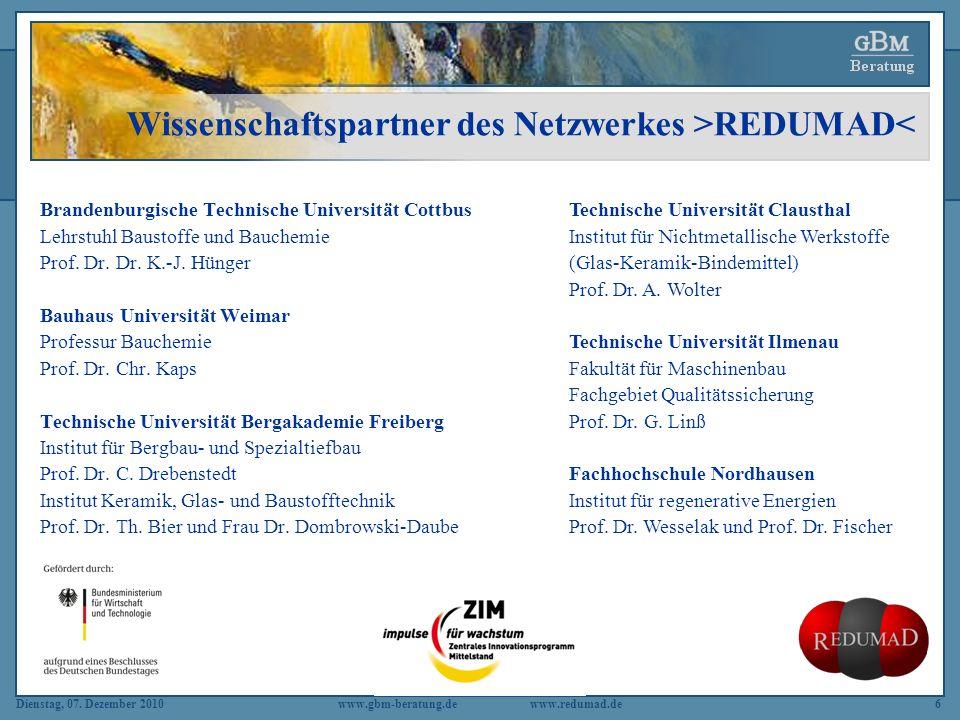 Wissenschaftspartner des Netzwerkes >REDUMAD<