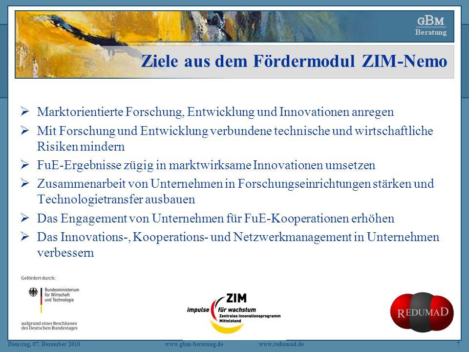 Ziele aus dem Fördermodul ZIM-Nemo
