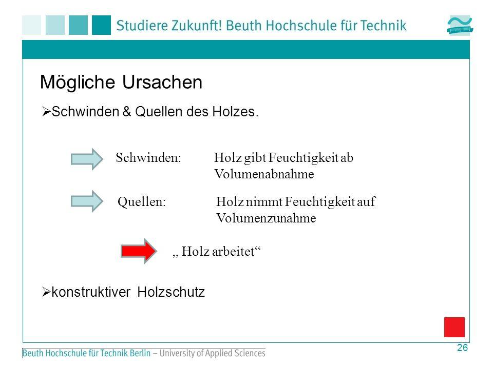 Mögliche Ursachen Schwinden & Quellen des Holzes.