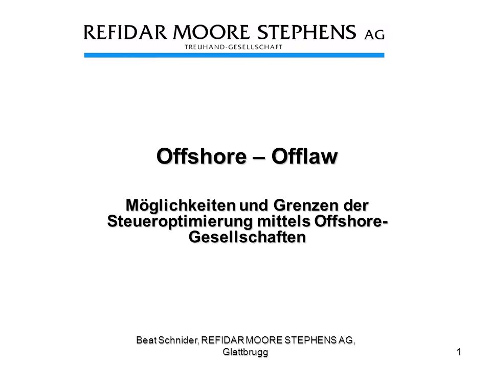 Beat Schnider, REFIDAR MOORE STEPHENS AG, Glattbrugg