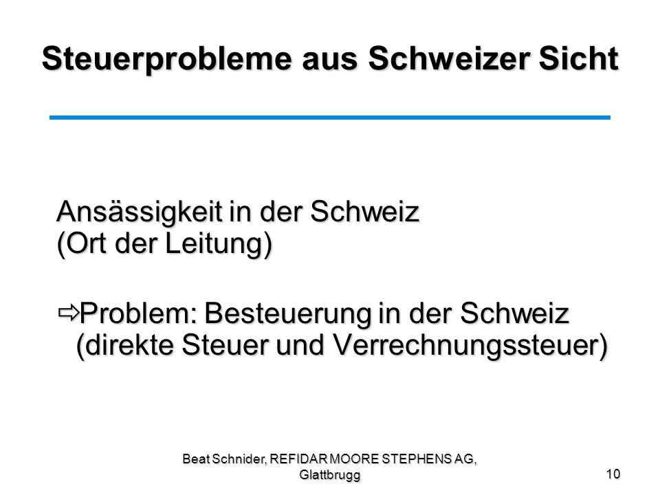 Steuerprobleme aus Schweizer Sicht