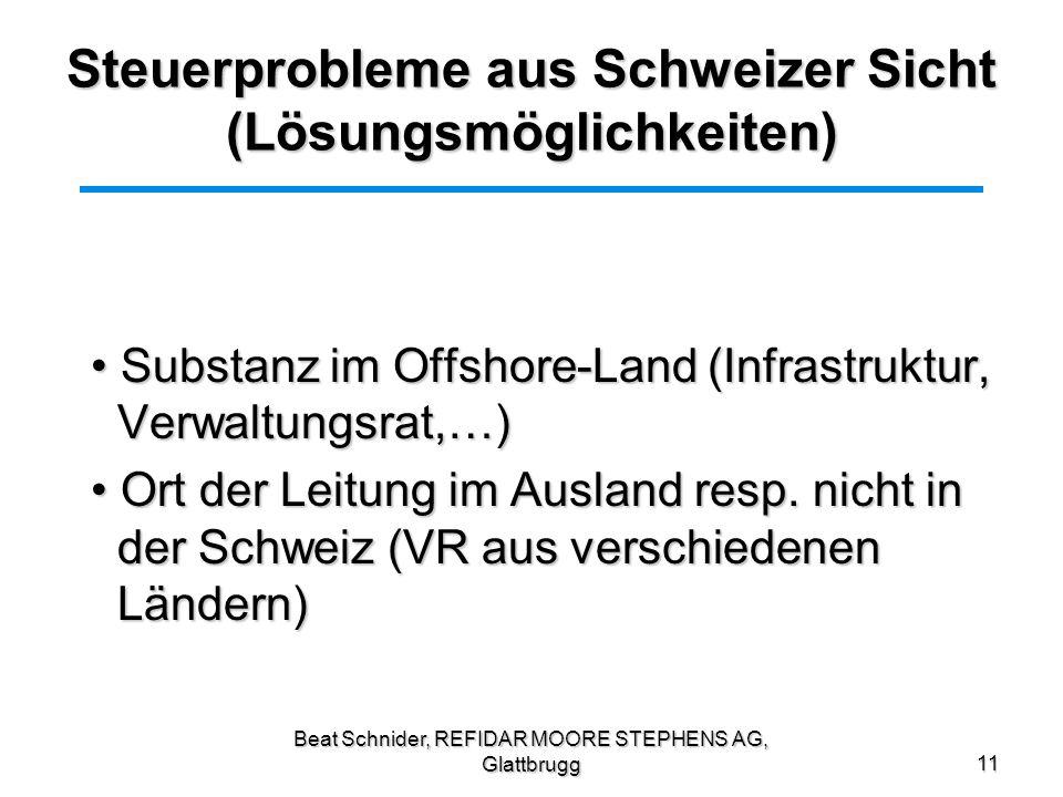 Steuerprobleme aus Schweizer Sicht (Lösungsmöglichkeiten)