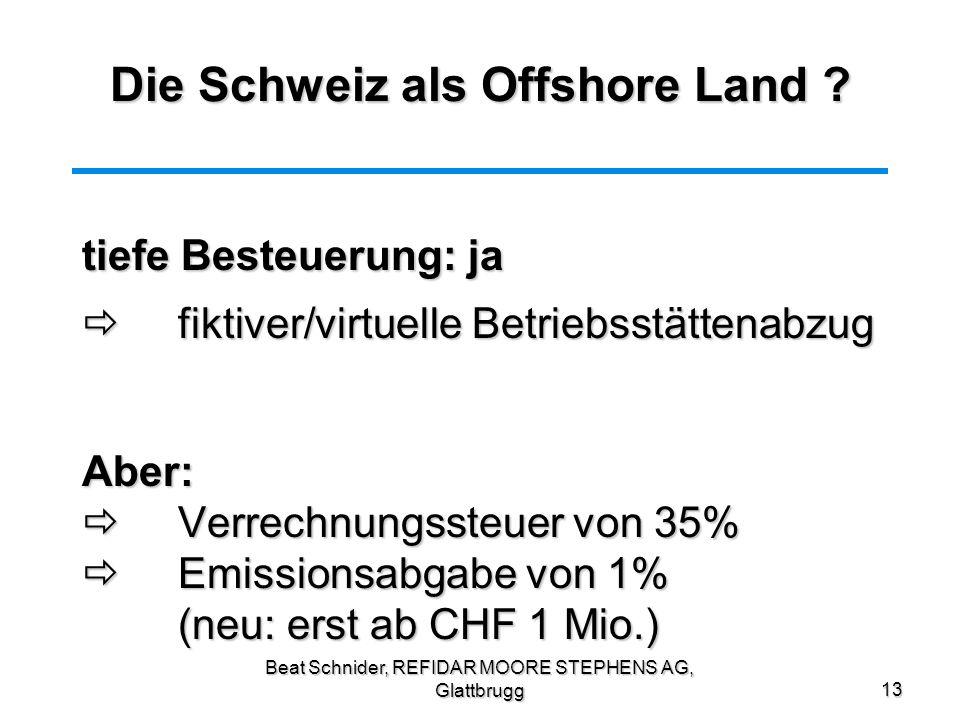 Die Schweiz als Offshore Land