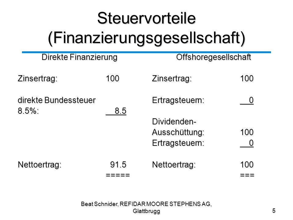 Steuervorteile (Finanzierungsgesellschaft)